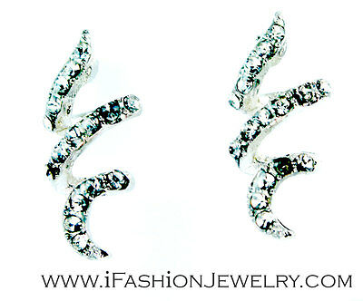 Elegant Silver Tone Bling Sparkling Crystal Spiral Stud Earrings Fashion Jewelry