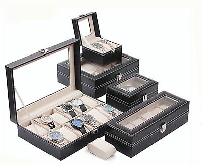 2-10 Slots Black Leather Watch Display Case Collection Storage Organizer Box