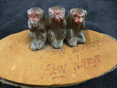 Wonderful Old Ink Blotter Pen Wiper Three Monkeys Hear See Speak No Evil Japan