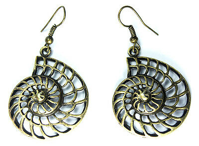Hip VINTAGE Bronze Spiral Gurge Whorl Texture Spiral Shell Drop EARRINGS Jewelry