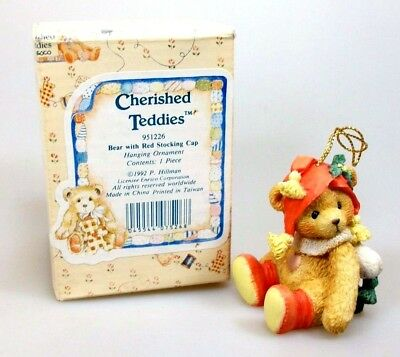 Cherished Teddies Bear with Red Stocking Cap 951226