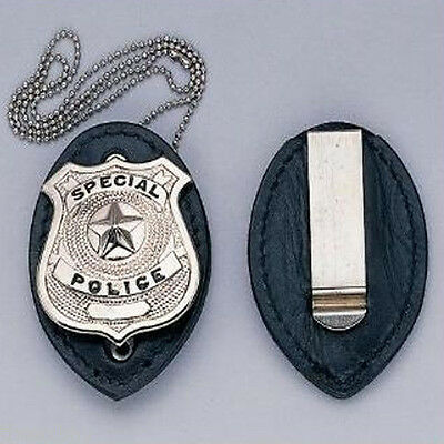 Leather Police Detective Badge Holder w/ Chain & Clip *BADGE NOT INCLUDED!*