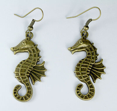 Seahorse Dangle Earrings Yellow Bronze Gold Brass Tone Marine Fashion Jewelry