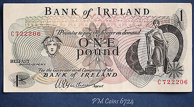"1967 Bank of Ireland, One pound £1 note Prefix ""C"" Guthrie [lot6724]"