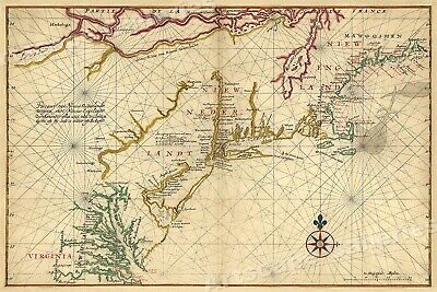 Map of New Netherland New England 1639 Vintage Style Navigational Map - 24x36