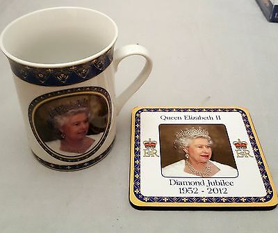 Queen's Diamond Jubilee Mug & Coaster Gift Set Souvenir Dishwasher Safe B2GOF