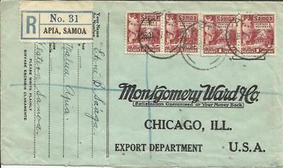 Samoa SG#154(x4) Apia 26/JL/27 Registered, commercial use to USA