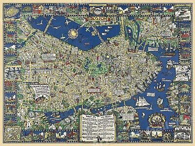 Boston Mass 1926 Vintage Style Pictorial Wall Map - 24x32
