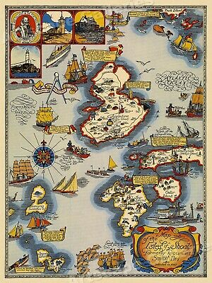 Map of the Isles of Shoals 1927 Vintage Style Pictorial Map - 18x24
