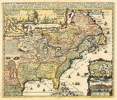"1700s ""Map of New France"" Vintage Style Early United States Map - 16x20"