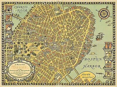 1929 Map of Old Boston Historic Vintage Style Wall Map - 24x32