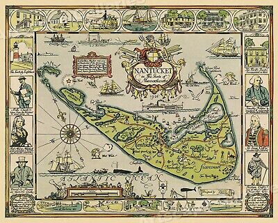 """1920s """"Map of the Island of Nantucket"""" Vintage Style Tony Sarg Map - 16x20"""