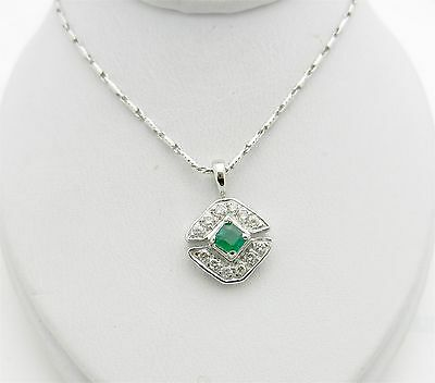 "Real 14k White Gold EMERALD & DIAMOND Pendant Charm with Chain Necklace 22"" long"