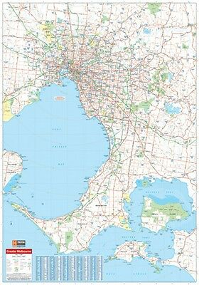 "Map Of Melbourne And Region Poster ""ROAD GUIDE"" WALL CHART size 70 cm X 100 cm"