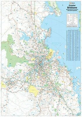 "Map Of Brisbane And Region Poster ""ROAD GUIDE"" WALL CHART size 70 cm X 100 cm"