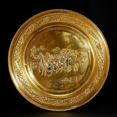 """Collectable Large Stamped Brass Medallion with Coach and Horses Scene 22.5"""""""