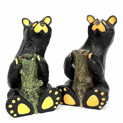 Big Sky Country Bearfoots Jeff Fleming Bears Pair of Bear Candle Holders - AS IS