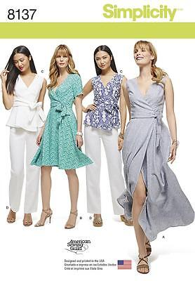 Simplicity Sewing Pattern Misses'/womens Wrap Dress Top Pants 10-18 8137 20W-28W