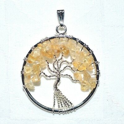 Golden Citrine Tree of Life Pendant Chain~Reiki~Pagan Jewellery~Natural Crystal