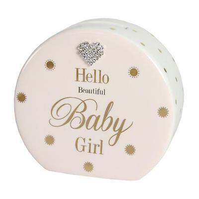 Mad Dots Gift Boxed Money Box with diamanté heart - Baby Girl - Pink
