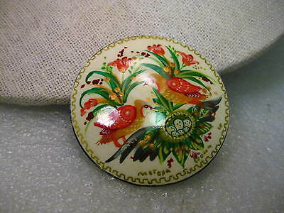 """Vintage Russian Hand Painted Black Lacquered Round Brooch, Birds & Foliage, 2"""""""