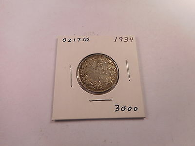 Low Mintage 1934 Canada Twenty Five Cents - Nice Collector Coin - # 021710