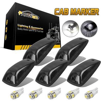 (5) Smoked Lens Cab Roof Marker Running Lamps w/ White LED Lights For Truck 4x4