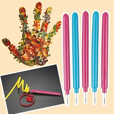 5 x Paper Quilling Slotted Needle Pen Tool DIY Origami Art Hand Craft