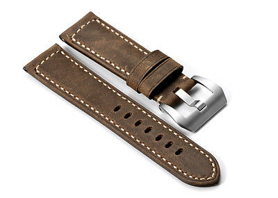 22mm Brown Genuine Asso Leather Watch Band Matte Steel Tan Buckle For Panerai