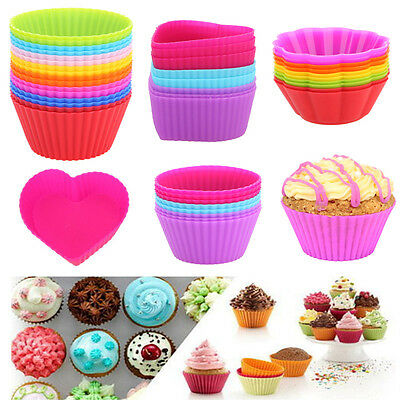 8/10/16Pcs Silicone Heart Round Muffin Cup Cake Cupcake Chocolate Liner Mold