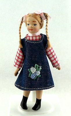 Dolls House Miniature 1:12 Scale Figure Porcelain People Young Girl Modern Child