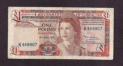 Gibraltar 1979 1 Pounds Used Note - 9907