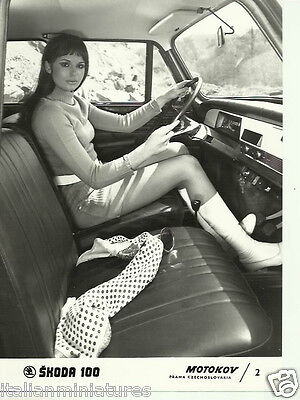 Skoda 100 1969 Original Press Photograph Girl in Knitted Mini Dress & Boots