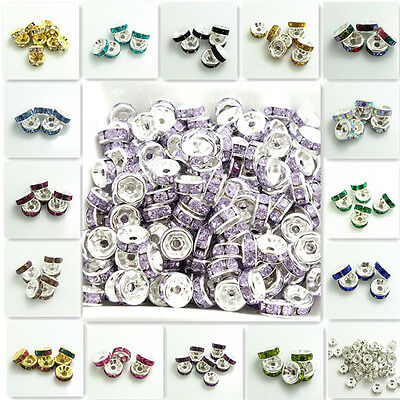 Wholesale 100PCS Resin Rhinestone Silver Rondelle fit Czech Crystal Beads 6mm8mm