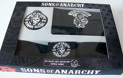 Sons Of Anarchy Gift Set.wallet - Belt - Keyring New Boxed.biker Gothic Rrp £10=