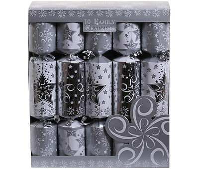 "Fun Family Crackers Box of 10 12"" Silver & White Christmas Cracker Pack Xmas"