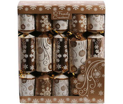 "Fun Family Crackers Box of 10 Gold and Cream 12"" Christmas Cracker Pack Xmas"