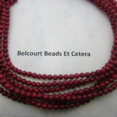1000 - Coral Beads Red Oil Dyed Beads - Round 3-4mm Gemstone Beautiful Red Color