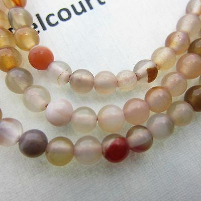 95 - 100 Mixed Reds and Whites 4mm Round Agate Gemstone Beads
