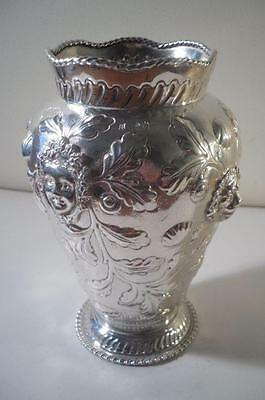 Large Antique Silver Vase w. Figural & Foliate Embossed Decoration: London c1890