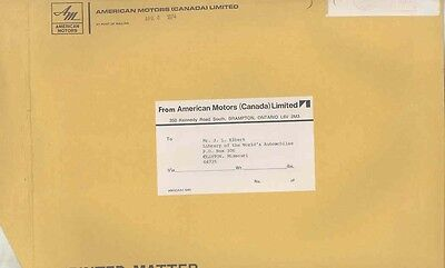 1974 American Motors Canada ORIGINAL EMPTY Factory Mailing Envelope ww0492