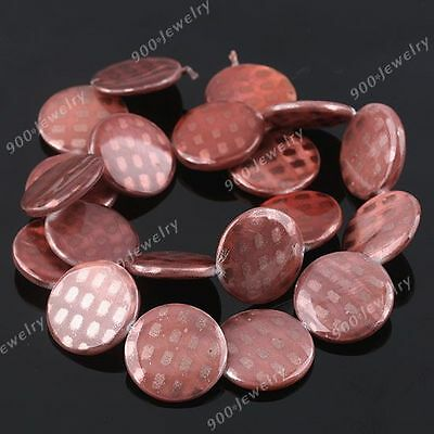 20mm Light Coffee MOP Shell Button Coin Flat Dot Loose Beads For Jewellery DIY