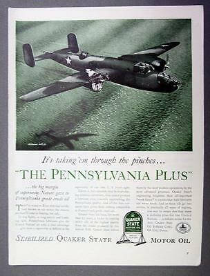 Original 1942 Quaker State Oil Ad Melbourne Brindle Art THE PENNSYLVANIA PLUS