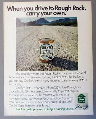 Original 1956  Quaker State Oil Ad WHEN YOU DRIVE TO RED ROCK AZ CARRY YOUR OWN