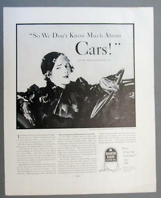 1934  Quaker State Oil Ad Marion Clayton says SO WE DONT KNOW MUCH ABOUT CARS!