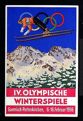 11512-GERMAN EMPIRE-Rare OFFICIAL Postcard OLYMPIC Winter GAMES.Garmsich.1936.DR