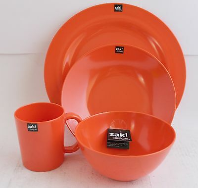 ZAK design BBQ Set Plate Soup dish Cup Cereal bowl Orange Coral Camping