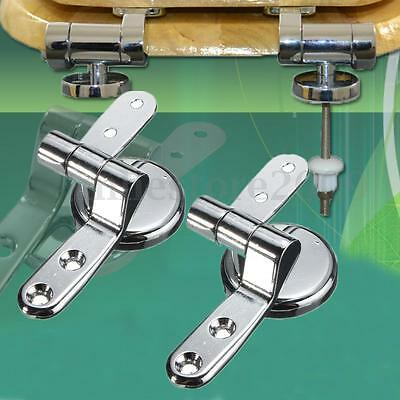 2x Zinc Alloy Toilet Seat Replacement Repair Chrome Hinge Set Universal Strong
