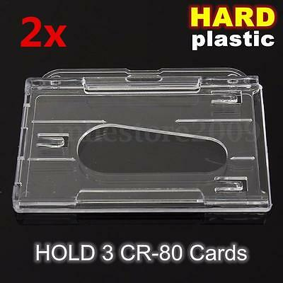 2x Hard Plastic Transparent Horizontal Clear Badge Cover 3-Multi ID Card Holder
