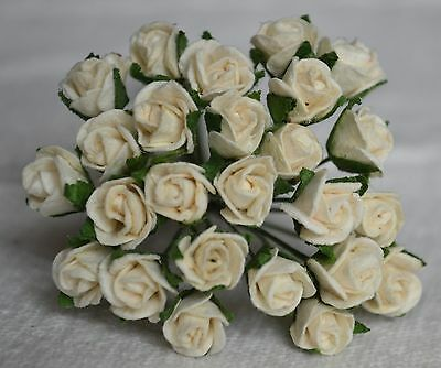 48 OFF WHITE SEMI-OPEN ROSE BUDS Mulberry Paper Flowers for wedding miniature